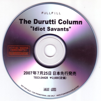 Idiot Savants; Japanese promo CD detail